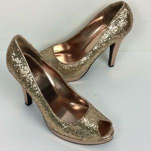 Rouge Helium Ladies Glitter Peep Toe Heels 10M